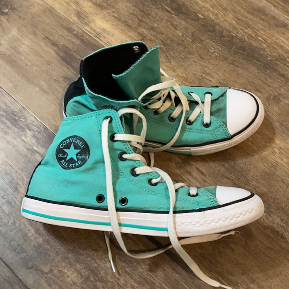 Converse Shoes | Converse Turquoise High Top Shoes Size 5 | Poshmark